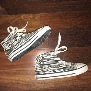 Justice zebra print hi-top shoes